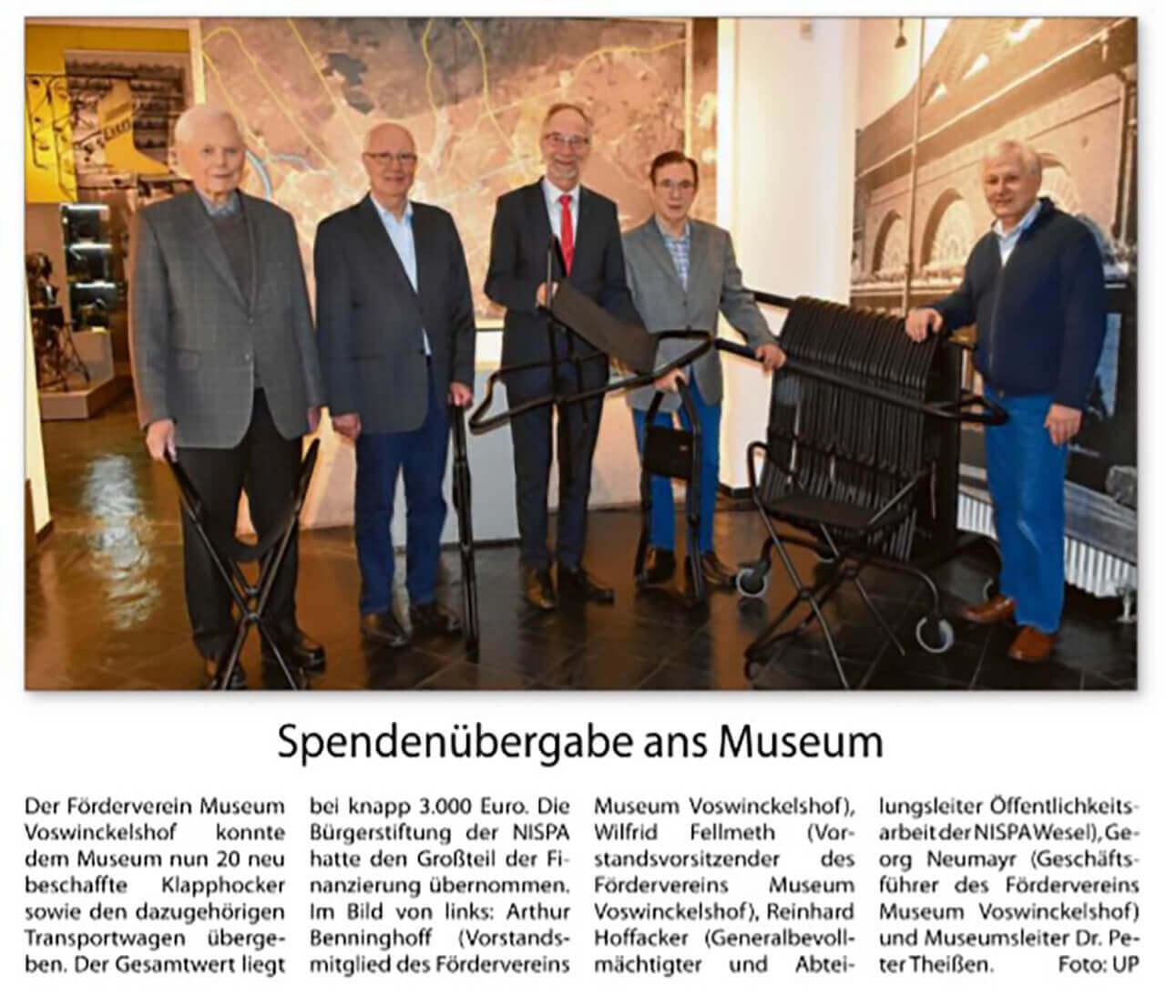 18 Dezember 2019 - Niederrhein Anzeiger - Spendenübergabe der Klapphocker an das Museum Voswinckelshof