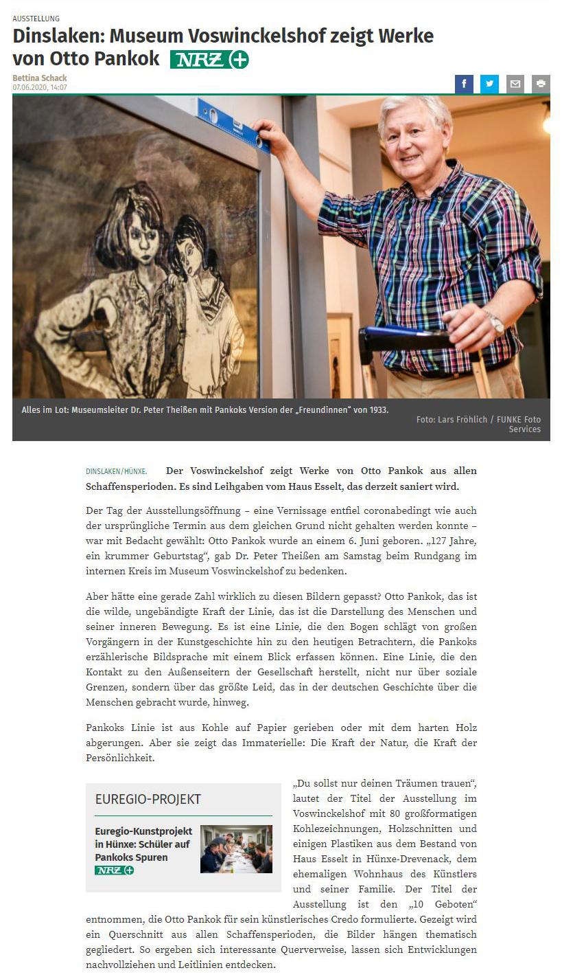 NRZ 07.06.2020 - Museum Voswinckelshof zeigt Werke von Otto Pankok - Teil 1