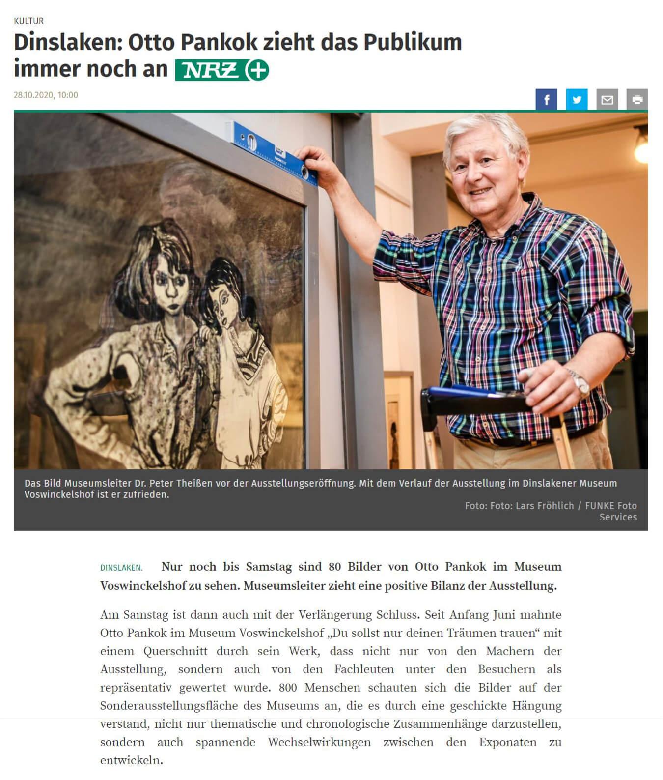 NRZ 28.10.2020 - Dinslaken - Otto Pankok zieht das Publikum immer noch an - Teil 1