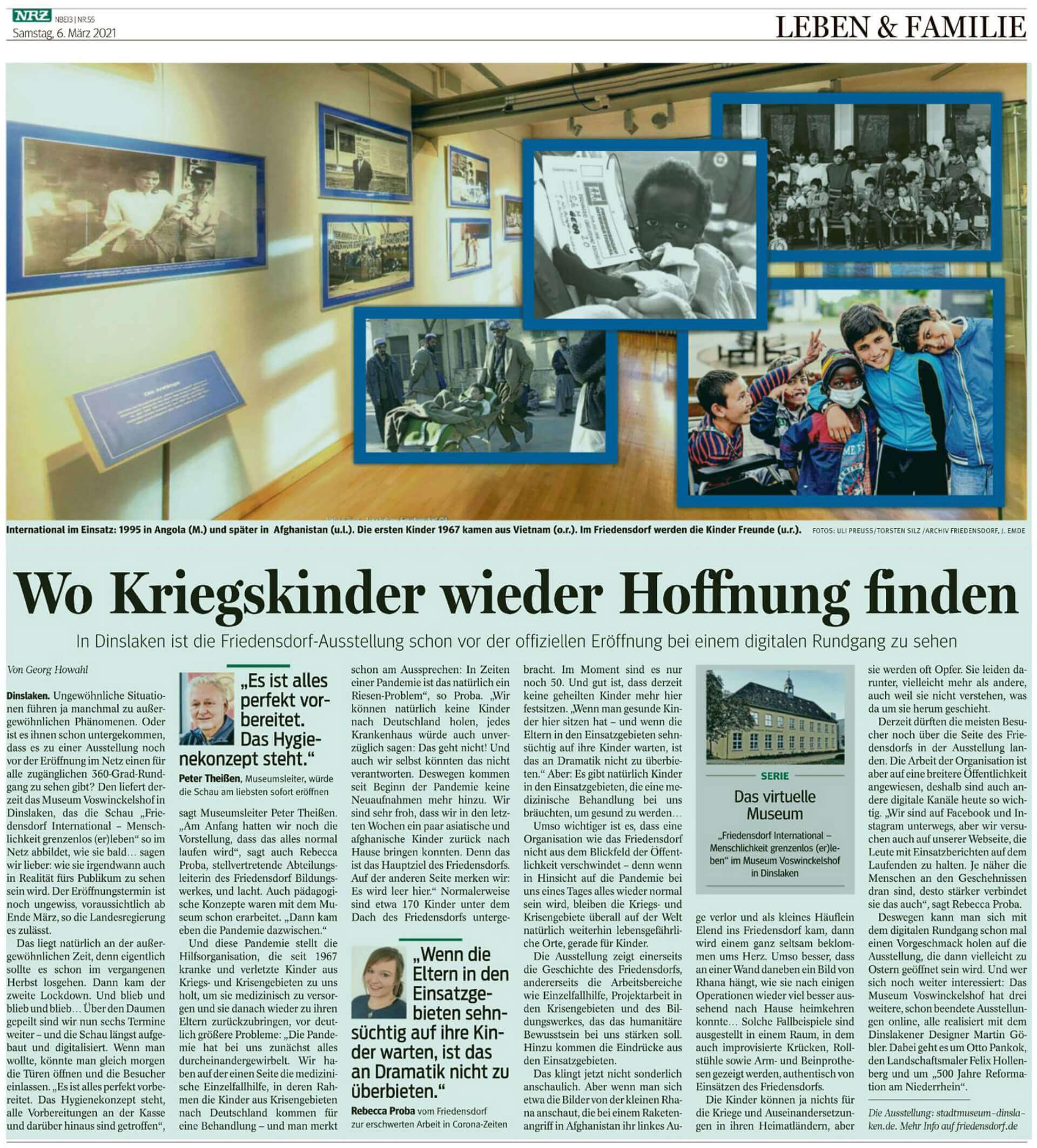 NRZ vom 6 März 2021 - Friedensdorf - Wo Kriegskinder wieder Hoffnung finden
