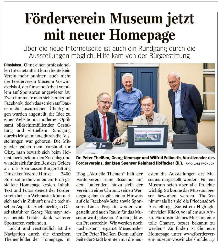 Presseartikel vom 9 Juli 2021 der NRZ zur Präsentation der neuen Website